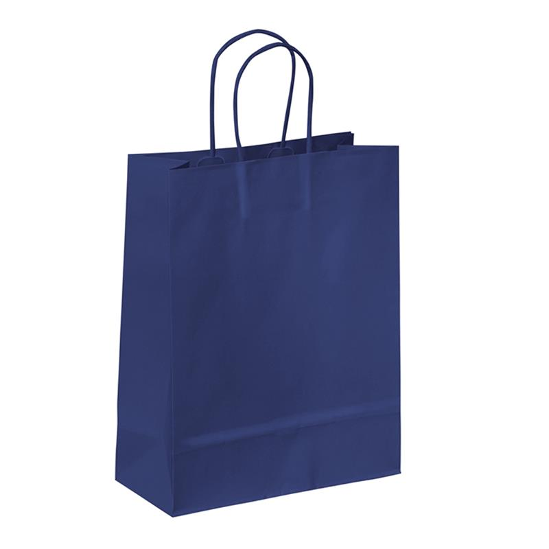 shopper in carta kraft blu manico cordino