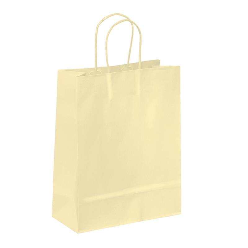 shopper in carta kraft avorio manico cordino