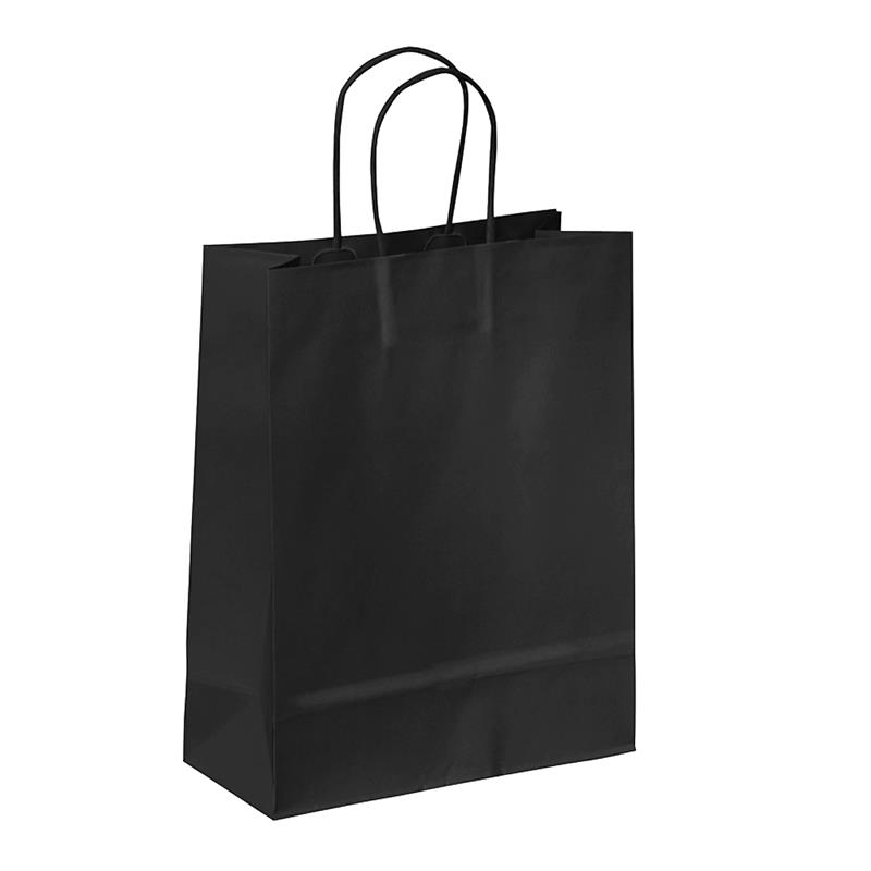 shopper in carta kraft nero manico cordino