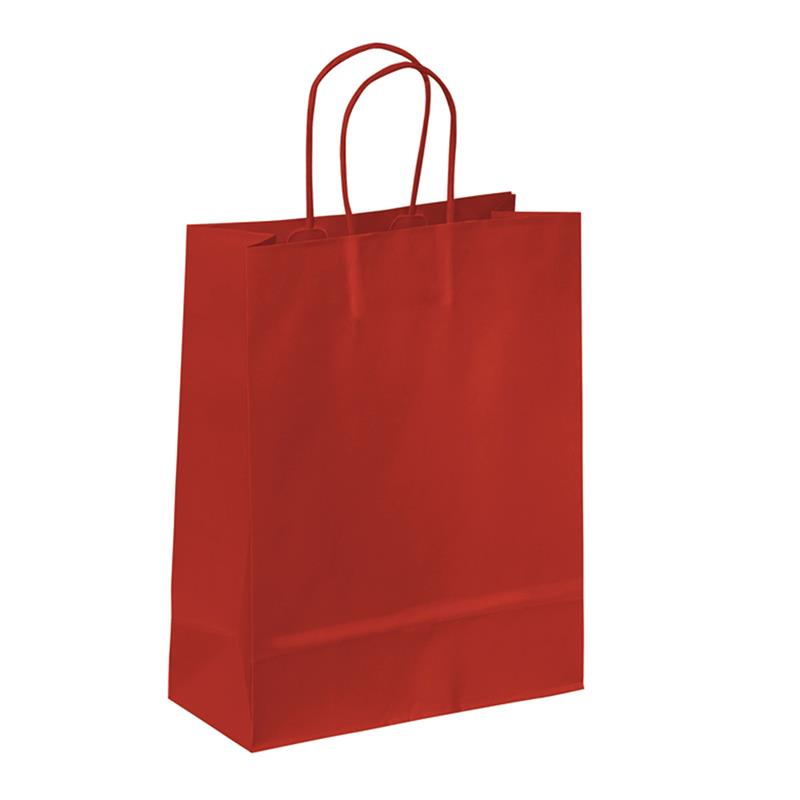 shopper in carta kraft rosso manico cordino