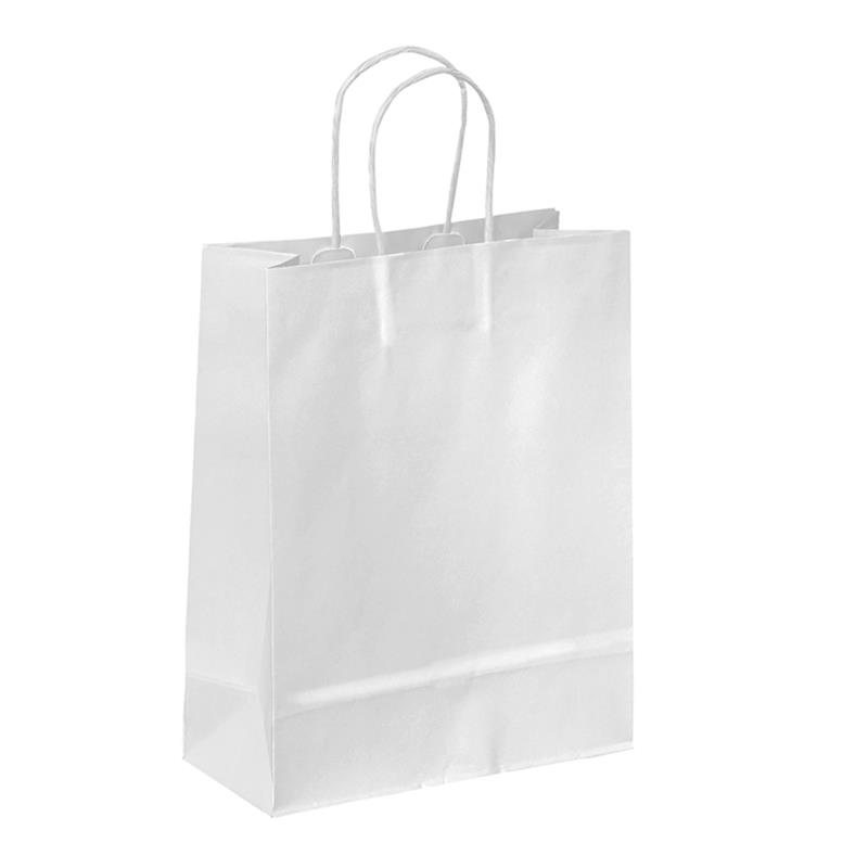 shopper in carta kraft bianco manico cordino