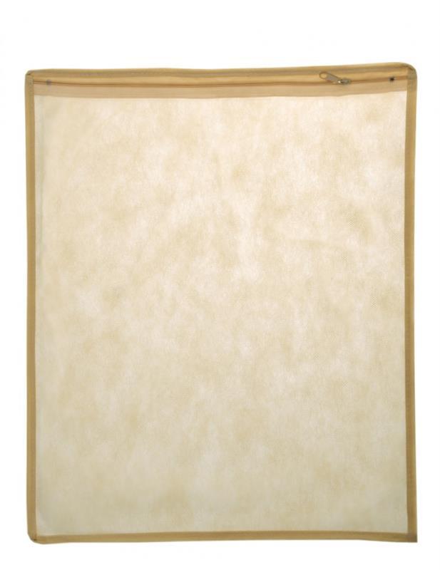 busta zip 35x45cm in tnt beige e pvc opaco