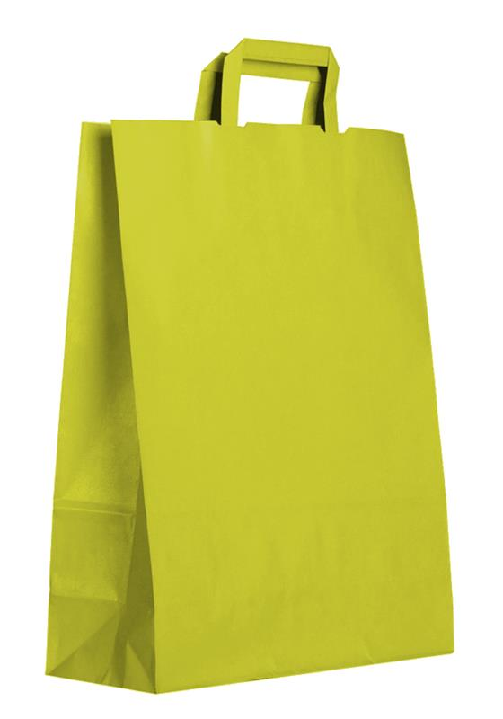 shopper in carta kraft verde acido manico piattina