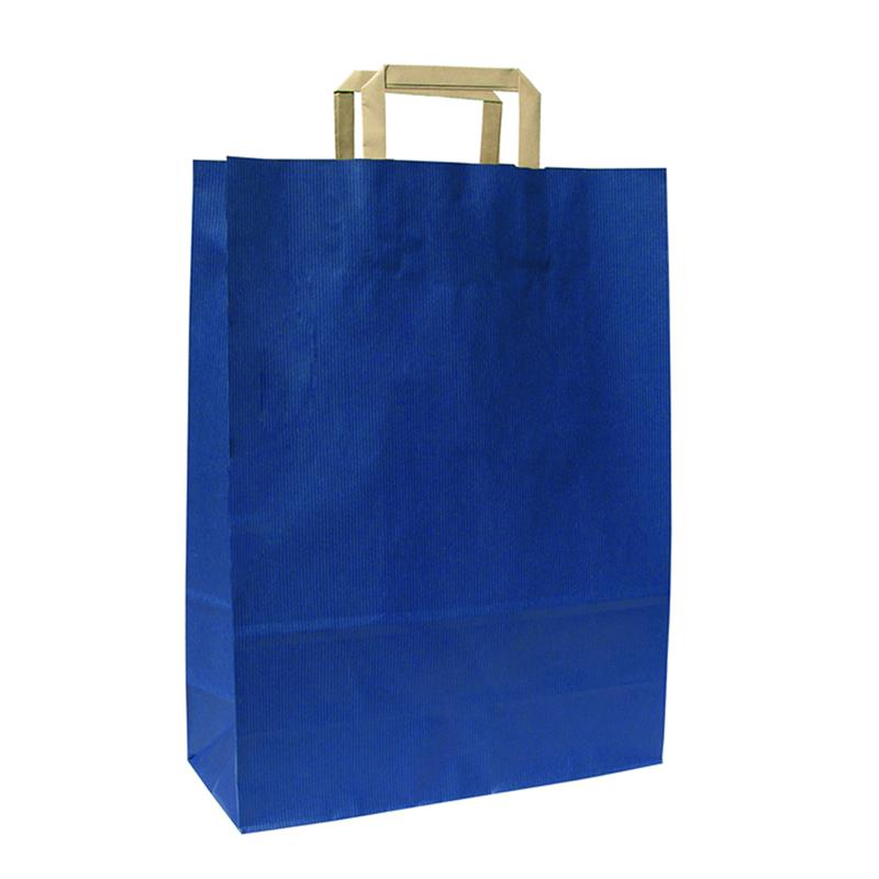 shopper in carta sealing avana blu manico piattina avana