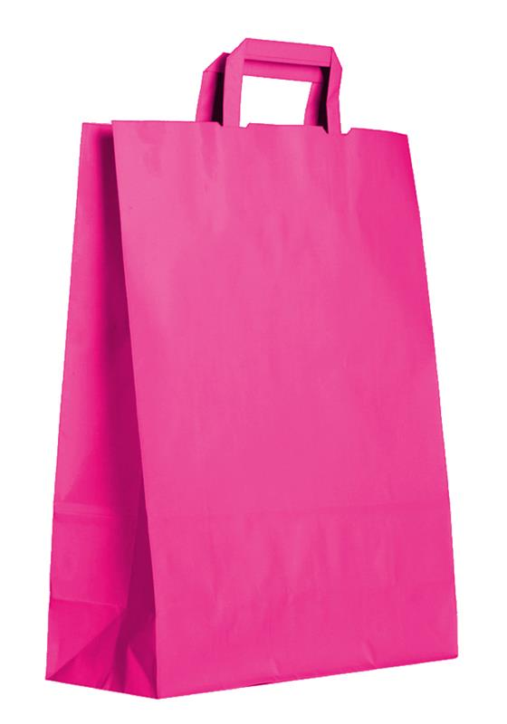 shopper in carta kraft fuxia manico piattina