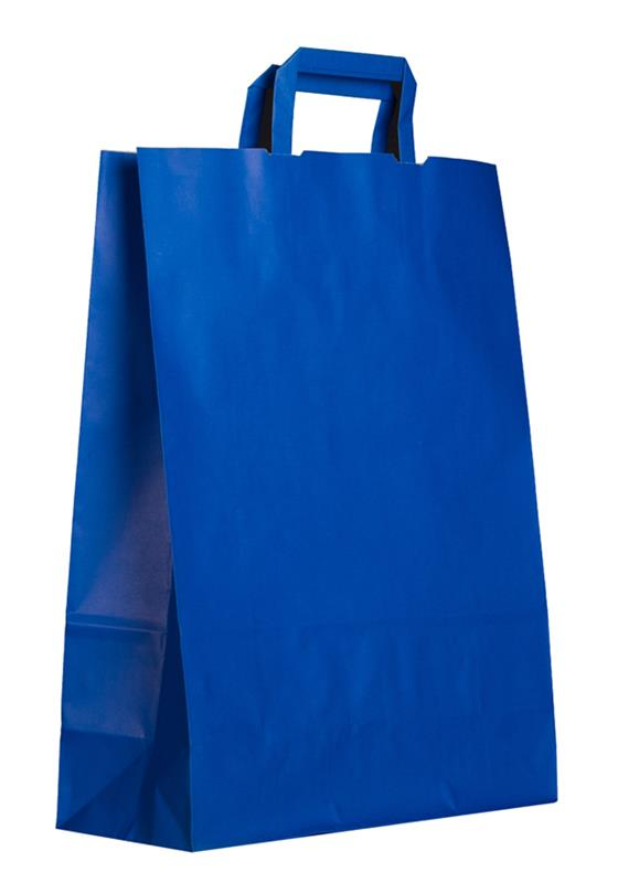 shopper in carta kraft blu manico piattina