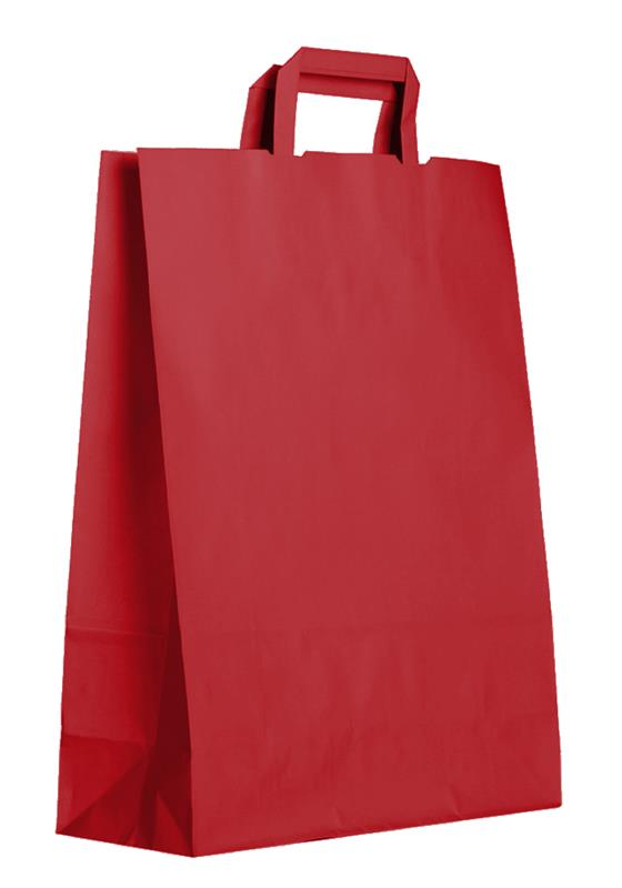 shopper in carta kraft rosso manico piattina