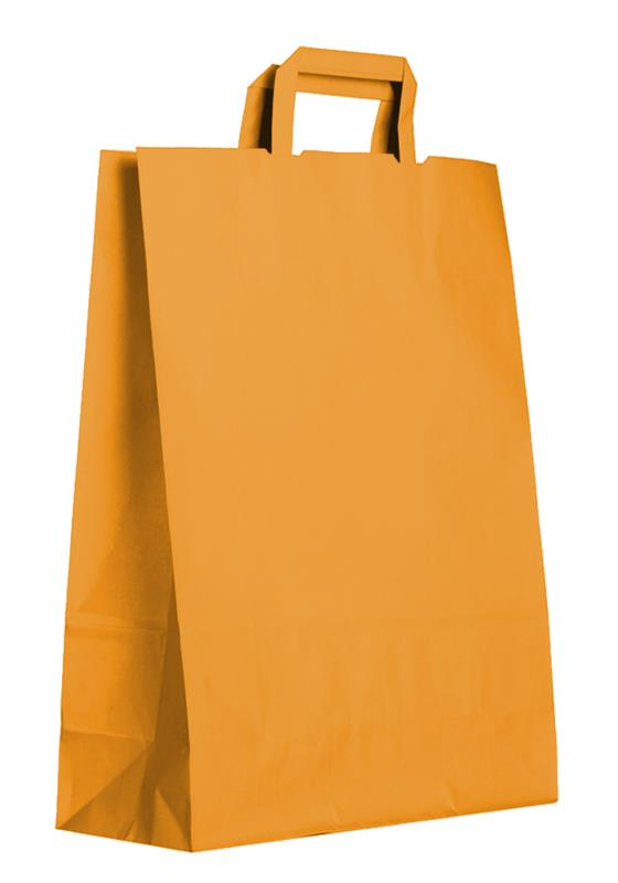shopper in carta kraft giallo-arancio manico piattina
