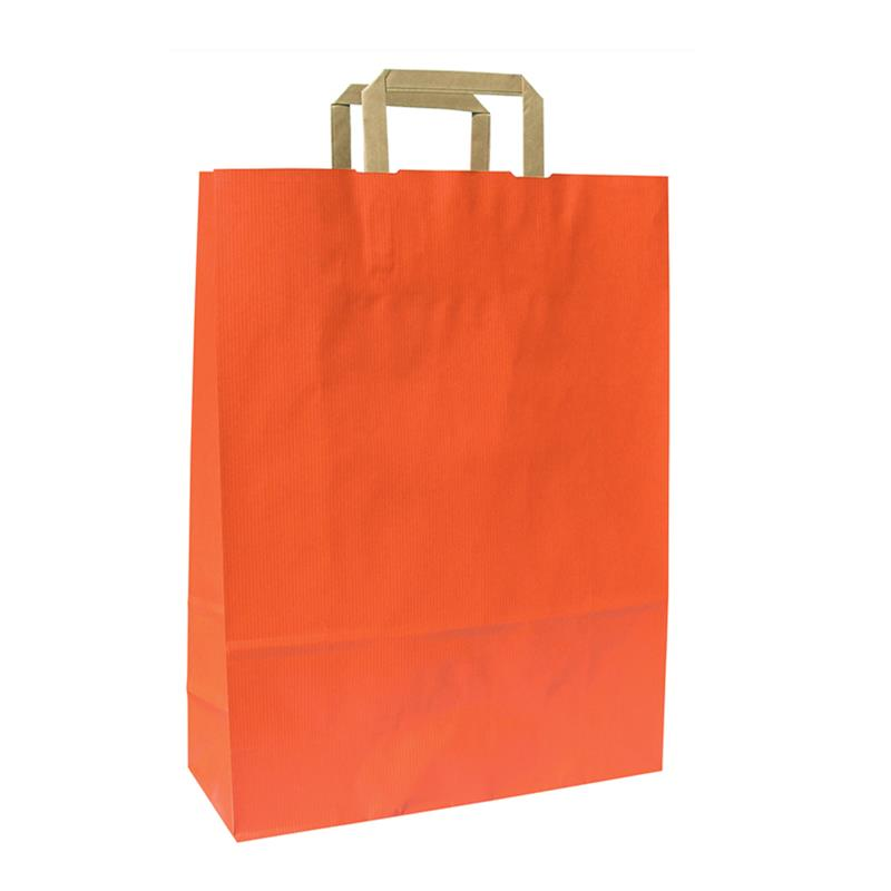 shopper in carta sealing arancio manico piattina avana