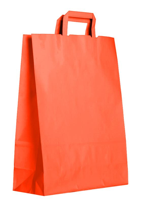 shopper in carta kraft arancio manico piattina