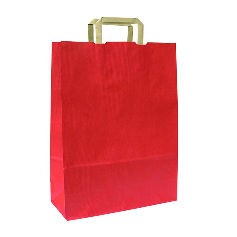 shopper in carta sealing rosso manico piattina avana