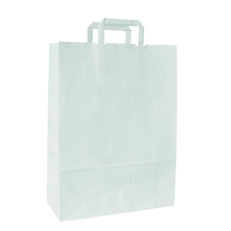 shopper in carta kraft bianco manico piattina