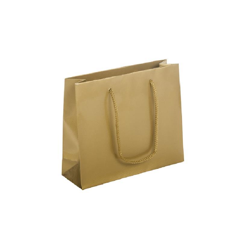shopper in carta patinata oro lucido goffratura quadra manico cotone