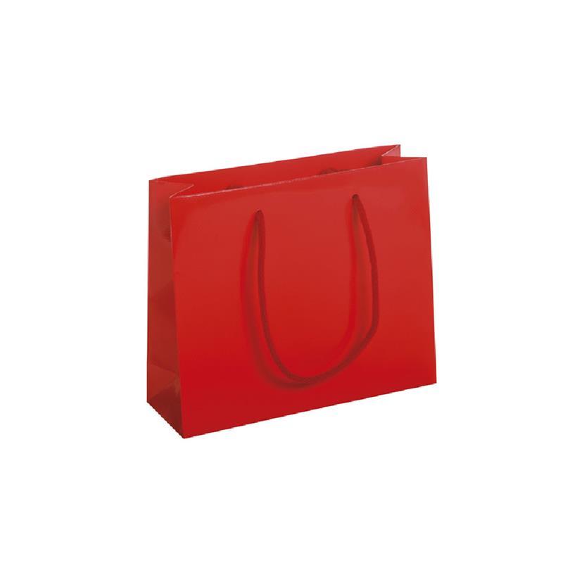 shopper in carta patinata rosso lucido goffratura quadra manico cotone