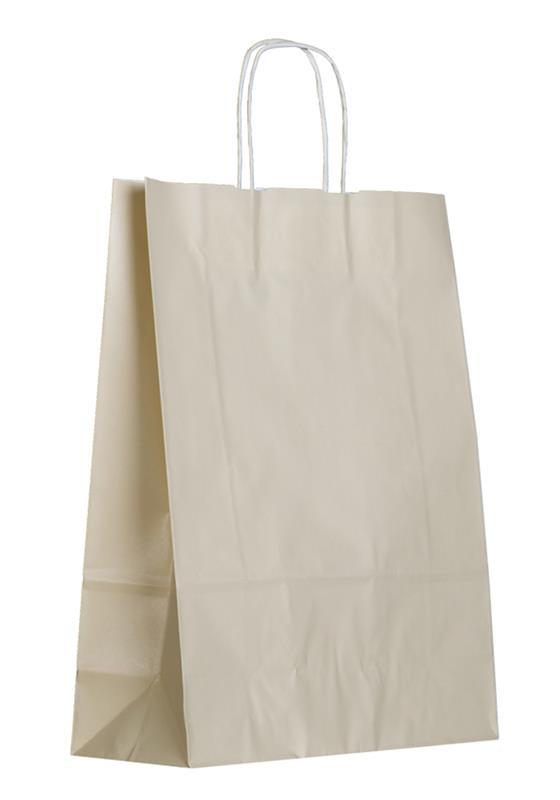shopper in carta kraft avorio manico cordino