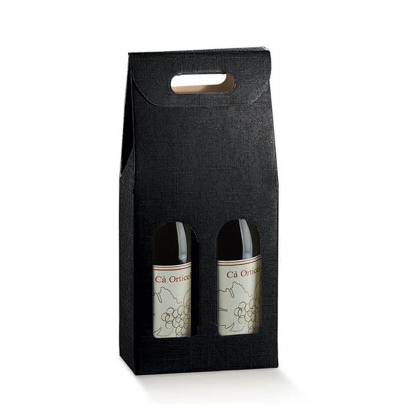 scatola in cartoncino con maniglia per due bottiglie