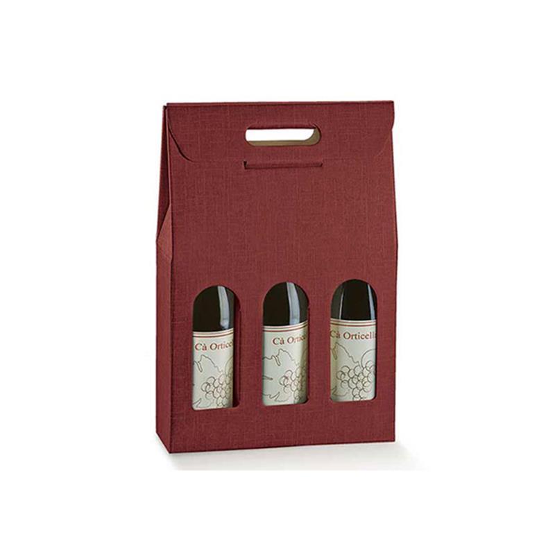scatola in cartoncino con maniglia per tre bottiglie