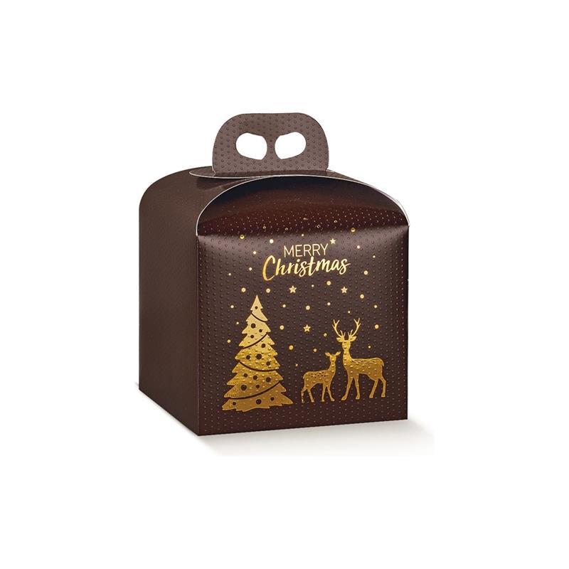 scatola porta panettone da 1kg. fantasia magical winter