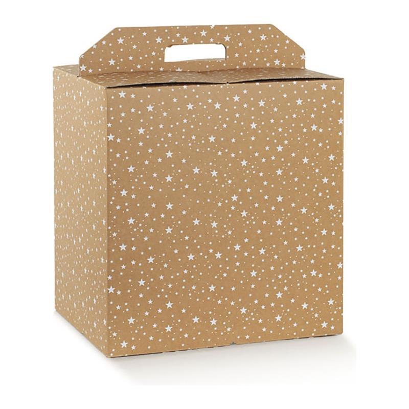 scatola porta panettone e bottiglia fantasia galaxy