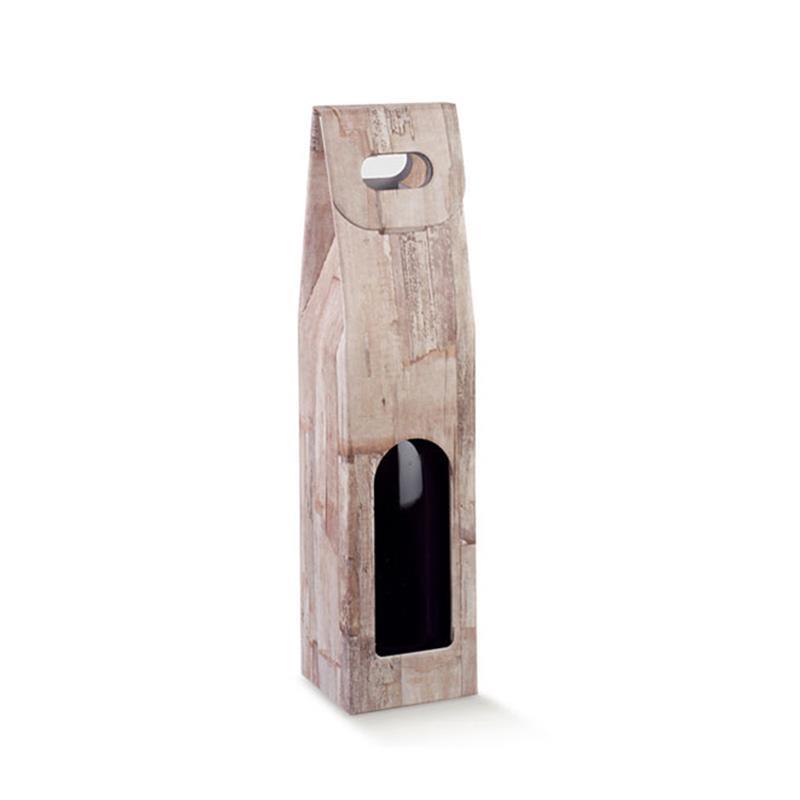 scatola in cartoncino con maniglia per una bottiglia
