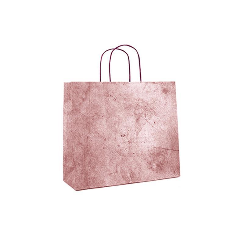 shopper in carta riciclata vinaccia risvolto superiore cordino ritorto