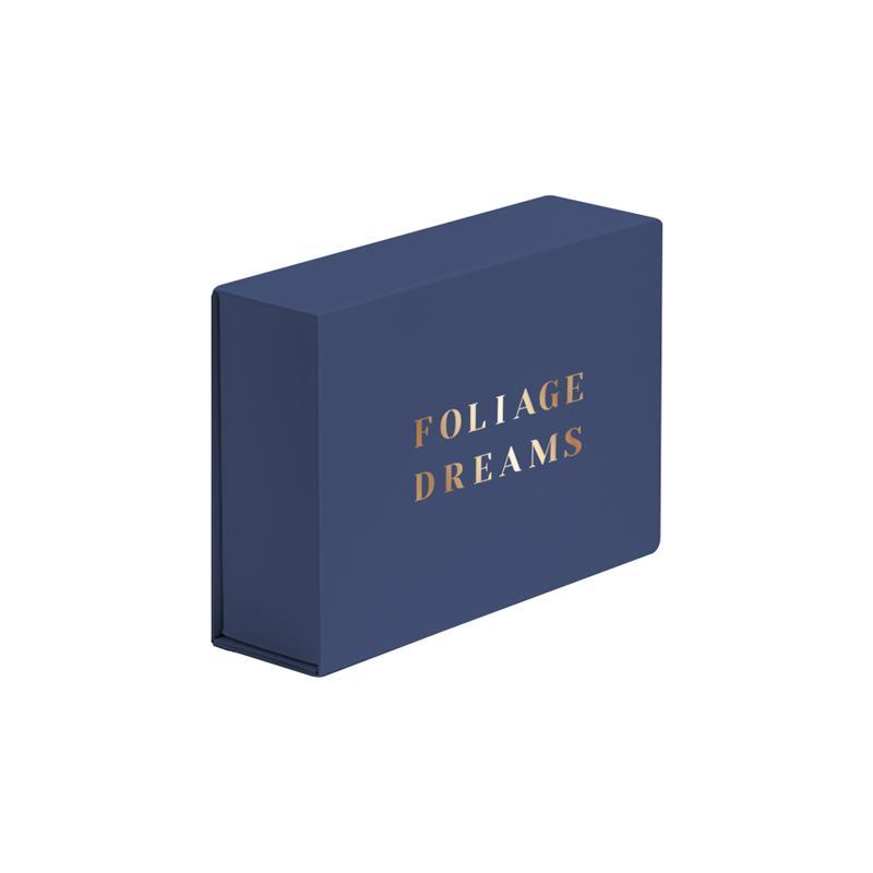 scatola in carta in pasta blu abbattibile con calamite