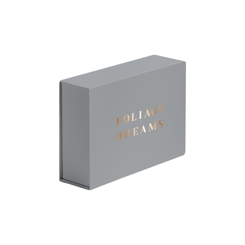scatola in carta in pasta grigio abbattibile con calamite