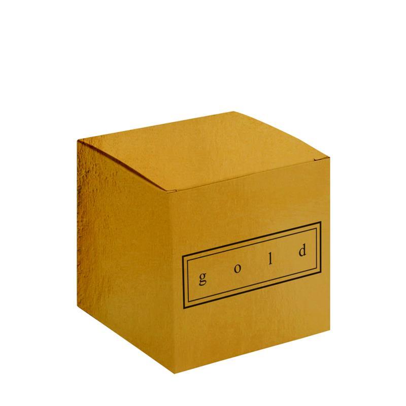 scatola pieghevole in cartoncino plastificato oro