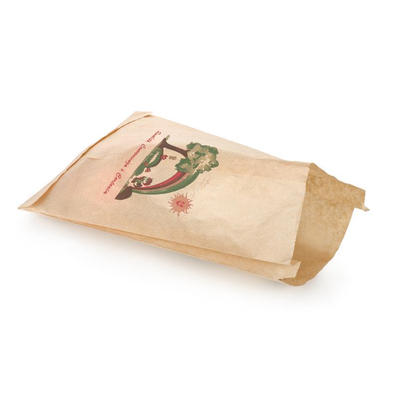 sacchetto per alimenti in carta sealing avana con arcobaleno