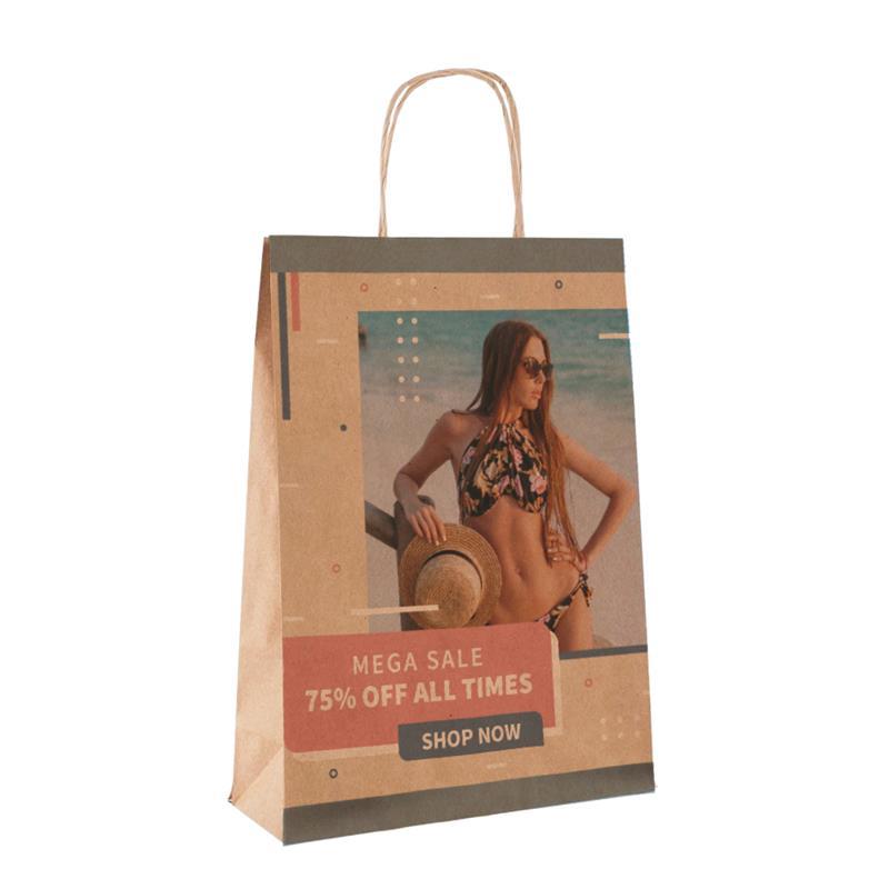 shopper in carta avana con risvolto interno e manico cordino
