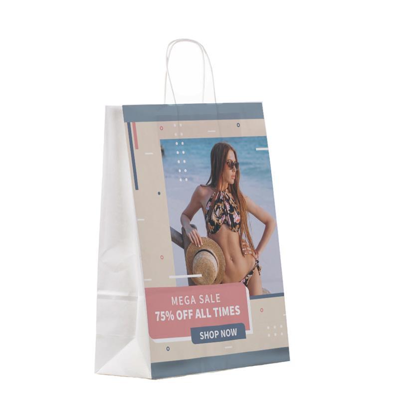 shopper in carta bianca con risvolto interno e manico cordino