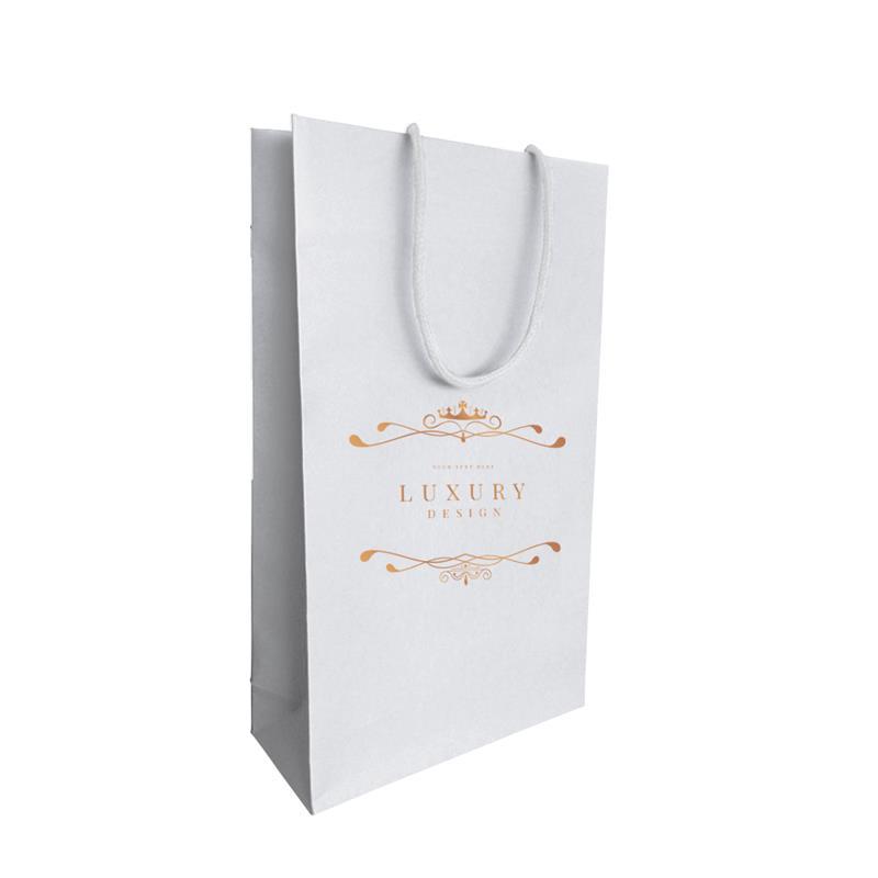 shopper carta in pasta bianca con risvolto interno manici incollati