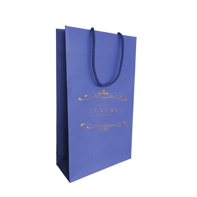 shopper carta in pasta blu con risvolto interno manici incollati