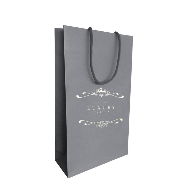 shopper carta in pasta grigia con risvolto interno manici incollati
