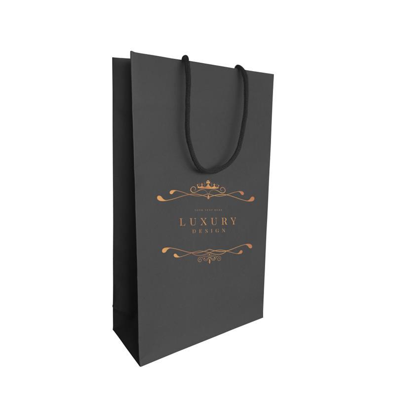 shopper carta in pasta nera con risvolto interno manici incollati