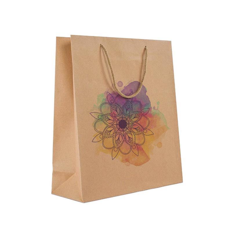 shopper in carta avana con risvolto interno e manico cotone