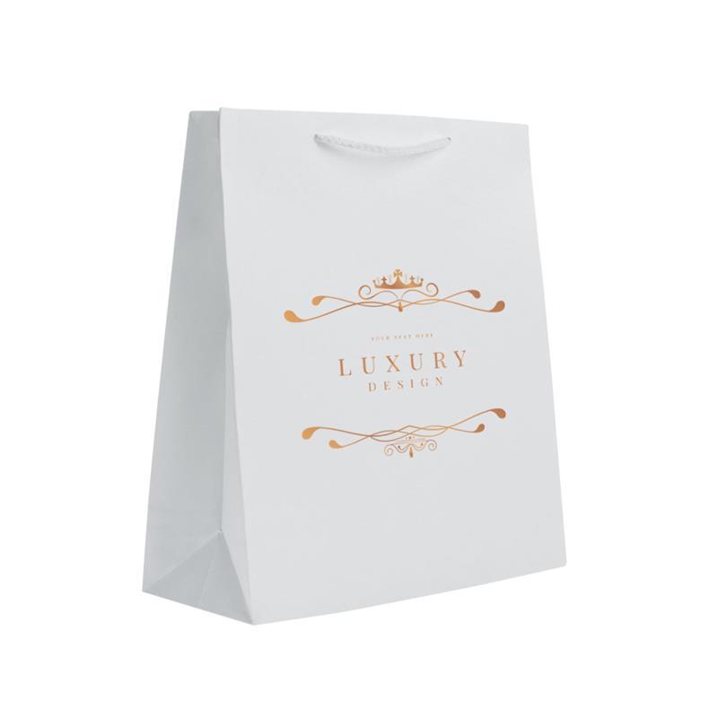 shopper in carta in pasta bianca con risvolto interno manici cotone