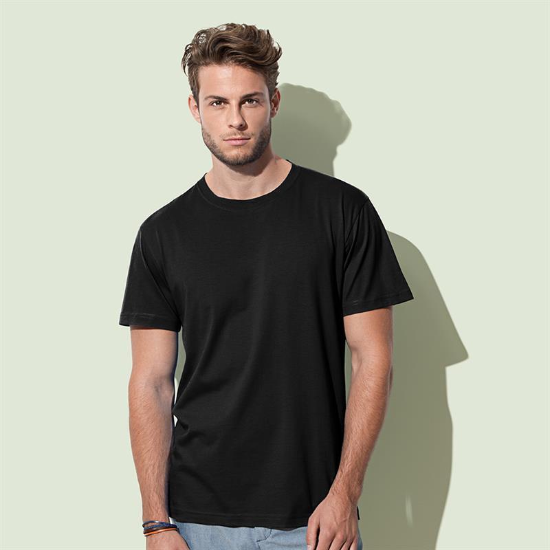 t-shirt da uomo in cotone nero filato ad anelli