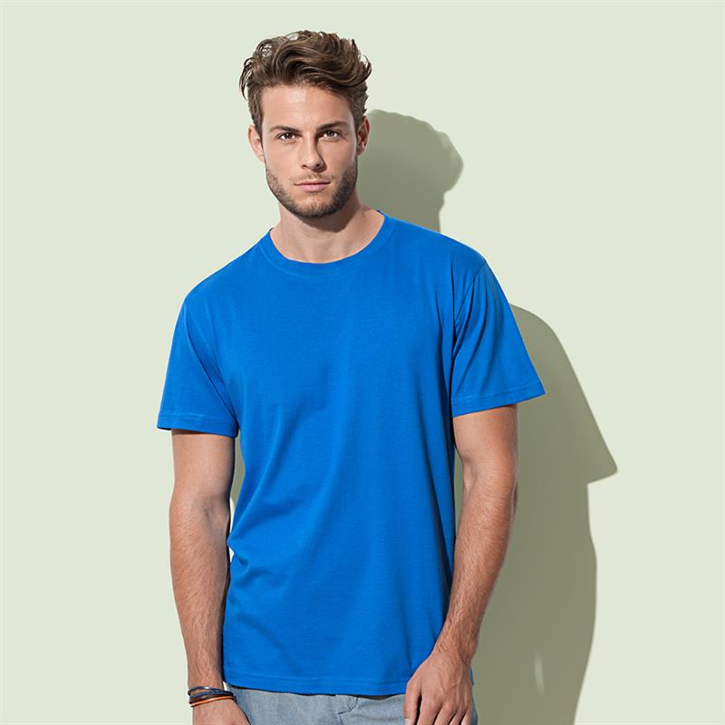 t-shirt da uomo in cotone blu royal filato ad anelli