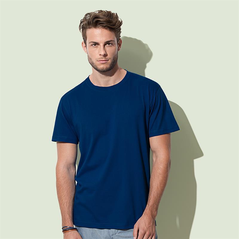 t-shirt da uomo in cotone blu navy filato ad anelli