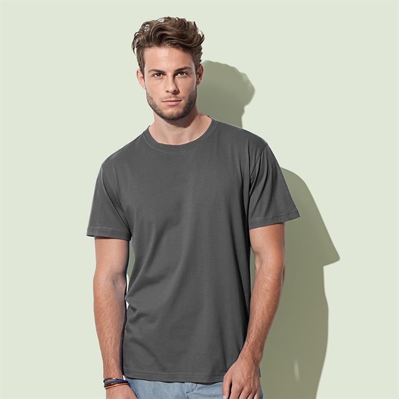 t-shirt da uomo in cotone grigio filato ad anelli