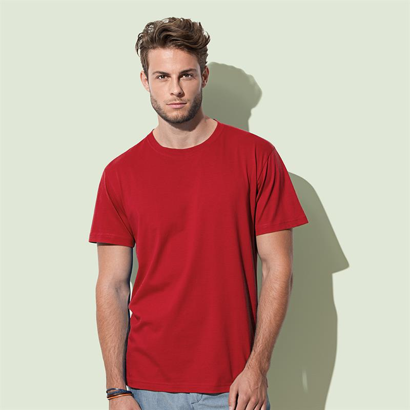 t-shirt da uomo in cotone rosso filato ad anelli