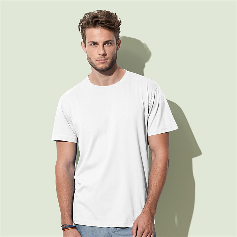t-shirt da uomo in cotone bianco filato ad anelli