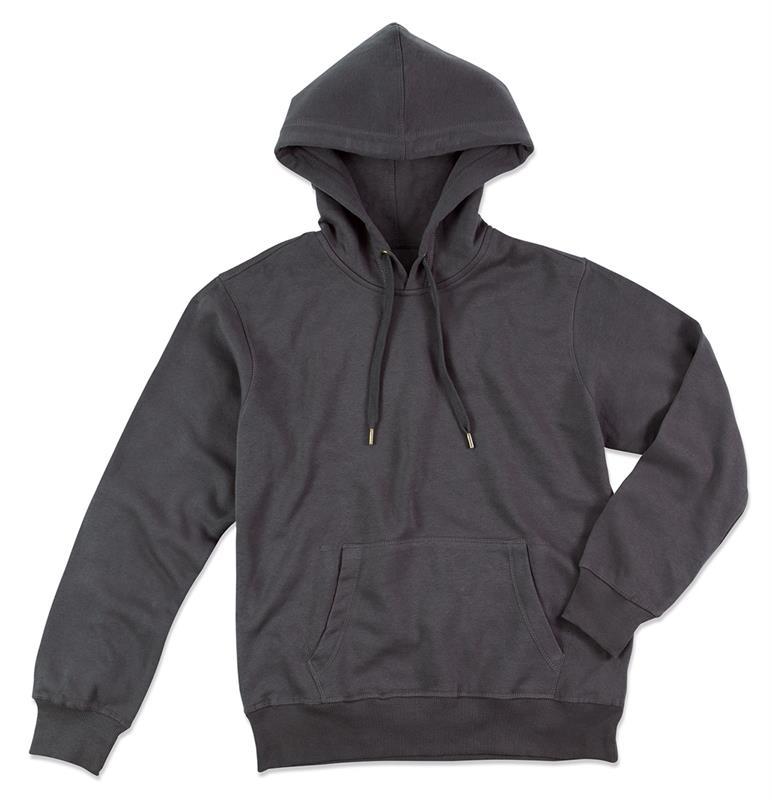 felpa con cappuccio da uomo in cotone e poliestere grigio