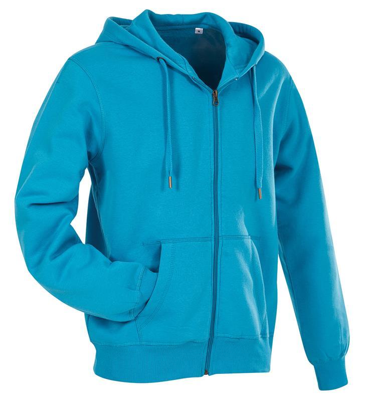 felpa con cappuccio da uomo in cotone e poliestere blu chiaro