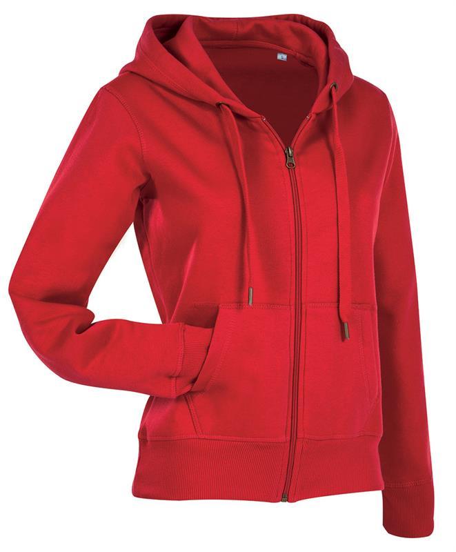 felpa con cappuccio da donna in cotone e poliestere rosso