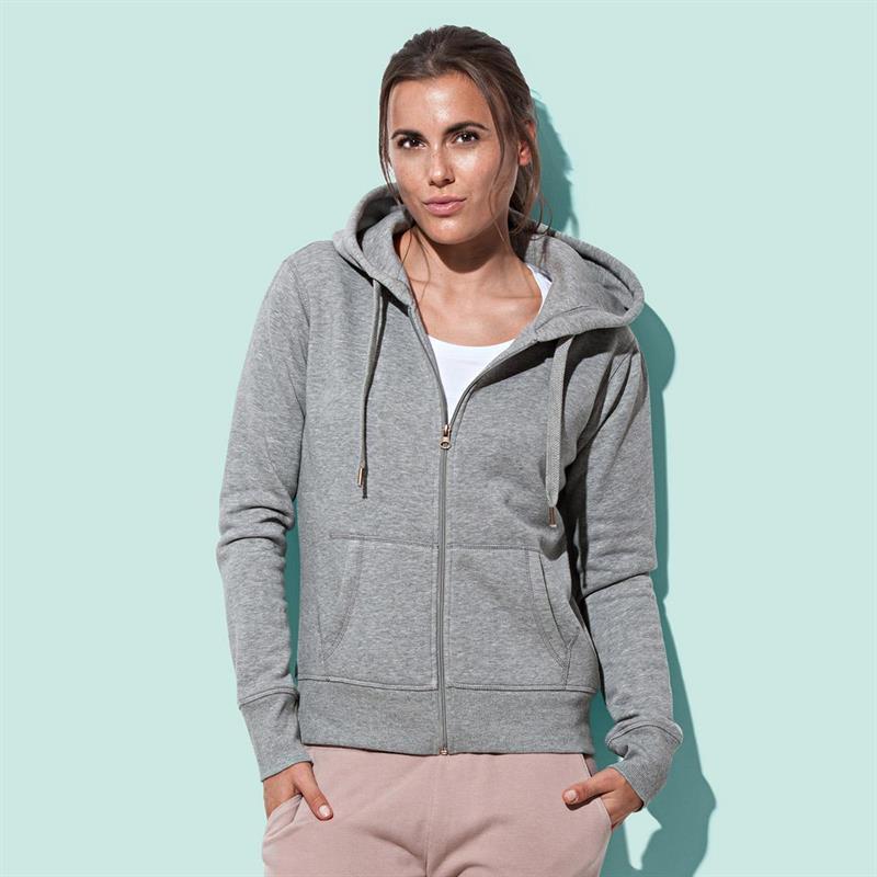 felpa con cappuccio da donna in cotone e poliestere grigio
