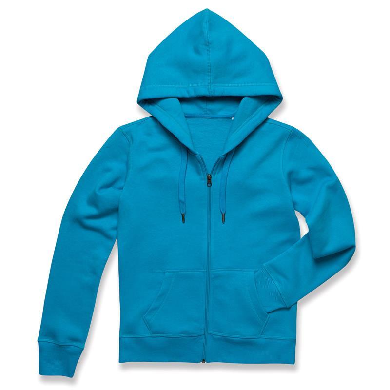 felpa con cappuccio da donna in cotone e poliestere blu chiaro