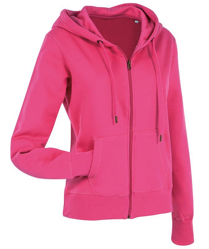 felpa con cappuccio da donna in cotone e poliestere rosa