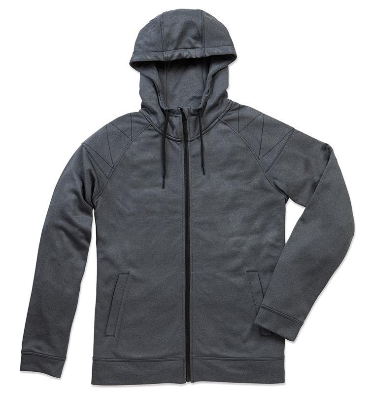 giacca con cappuccio da uomo grigio melange